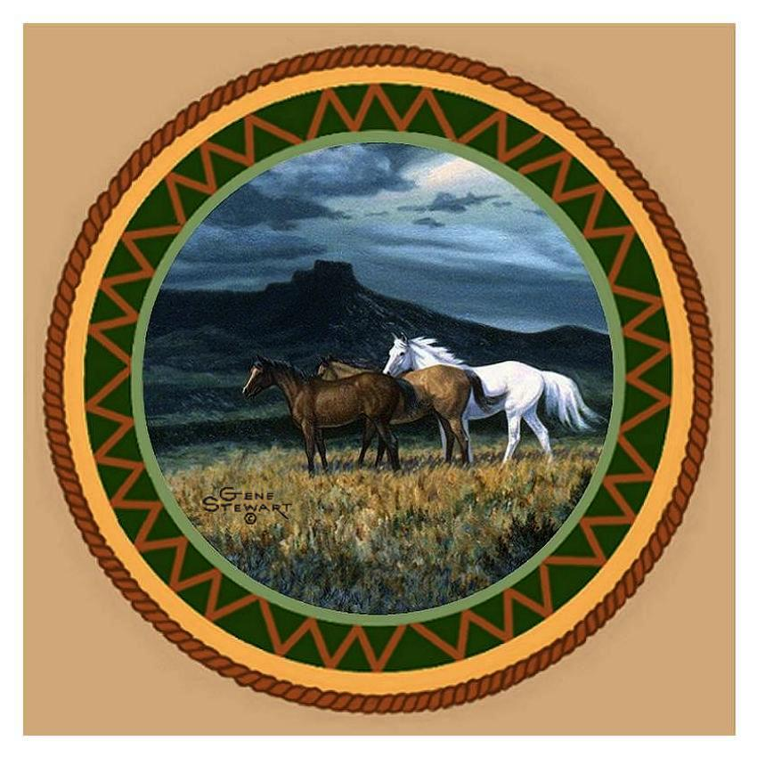 Three Horses Coaster Tile
