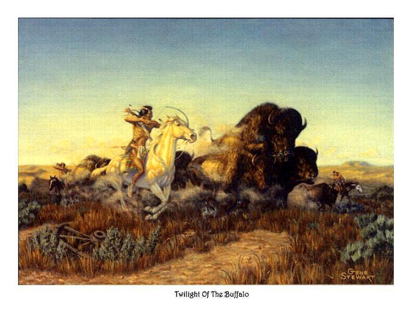 """Twilight of The Buffalo"", print"